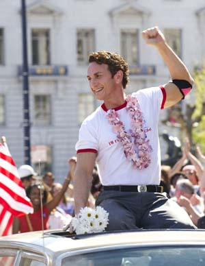 Sean Penn as Harvey Milk in <EM>Milk</EM>Photo courtesy of Focus Features