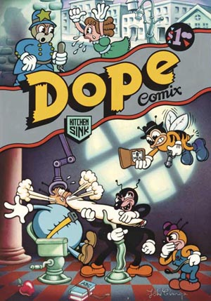 "<SPAN class=pie_g align=""top"">Leslie Cabarga (American, b. 1954), <EM>Dope Comix #1</EM>, cover, 1978Line art on acetate over airbrushed backgroundDenis Kitchen Collection.</SPAN>"