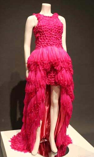 Adriana Bertini (Brazil): <EM>Eva, </EM>2006 Factory rejected condoms were dyed — and turned into an evening gown by the Brazilian artist.Courtesy of the Fowler Museum at UCLA