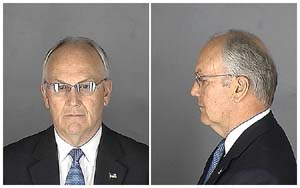 Larry Craig's mugshot in <EM>Outrage</EM>, a Magnolia Pictures releasePhoto courtesy of Magnolia Pictures