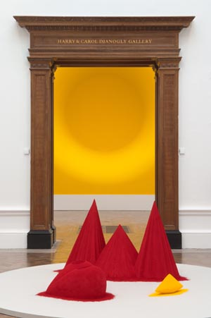 <P>Anish Kapoor: <EM>Yellow,</EM> 1999. Fibreglass and pigment6 x 6 x 3 m. Courtesy of the artist and Lisson Gallery, London.</P> • <P><EM>As if to Celebrate I Discovered a Mountain Blooming with Red Flowers</EM>, 1981Wood, cement, polystyrene and pigment, 97 x 76.2 x 160cmTate</P>