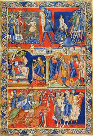 <EM>Scenes from the Life of David</EM>, leaf from the Winchester Bible, illuminated by the Master of the Morgan Leaf. England, Winchester, Cathedral Priory of St. Swithin, ca. 1160-80. Purchased by Pierpont Morgan, 1912; MS M.619v.