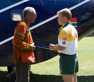 Morgan Freeman and Matt Damon in <EM>Invictus</EM>