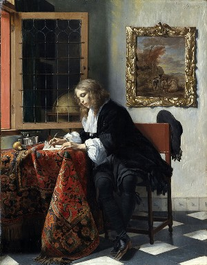 Gabriel Metsu: <EM>A Man Writing a Letter</EM>, c. 1664–6Oil on panel, 52 x 40.5cmPhoto © National Gallery of Ireland