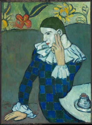 Pablo Picasso (Spanish, 1881–1973): <EM>Seated Harlequin</EM>, 1901Oil on canvas, lined and mounted to a sheet of pressed cork32 3/4 x 24 1/8 in. (83.2 x 61.3 cm)Purchase, Mr. and Mrs. John L. Loeb Gift, 1960Rights and Reproduction© 2003 Estate of Pablo Picasso/Artists Rights Society (ARS), New York