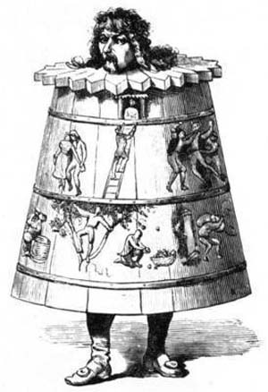 A 'drunkard's cloak' is the name of a 17th Century punishment for public drunkenness.The drunk was forced to don a barrel and wander through town while the villagers jeer at him.