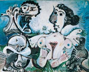 Pablo Picasso: Naked <EM>Woman with Bird and Flute Player</EM>, 9 November 1967Oil on canvasAlbertina, Vienna © Succession Picasso/VBK, Vienna 2010