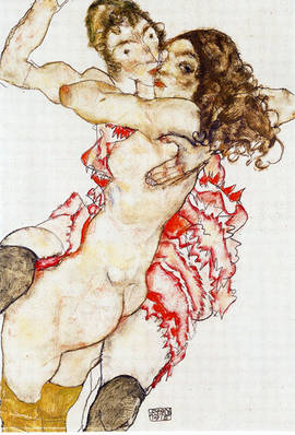 Egon Schiele: <EM>Two Women Embracing</EM> 1915.Pencil, watercolour, gouache. 48.5 x 32.7 cm.Museum of Fine Arts, Budapest