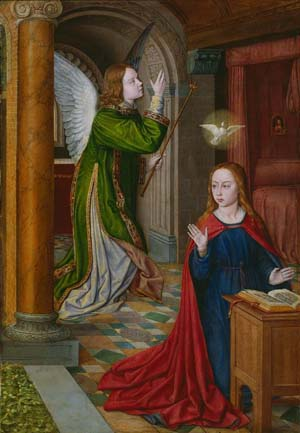 <P>Jean Hey, known as The Master of Moulins, active c. 1480-c. 1505</P> • <P><EM>The Annunciation,</EM> 1490/95</P>