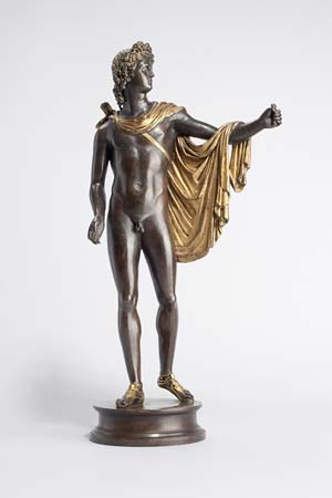 Antico: <EM>Apollo Belvedere</EM>, c. 1490bronze with gilding and silveringwithout base: 41.3 x 22 cm (16 1/4 x 8 11/16 in.)with base: 45.2 x 22 cm (17 13/16 x 8 11/16 in.)Liebieghaus SkulpturensammlungFrankfurt am Main