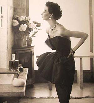 Dorian Leigh in Piguet evening dress, Paris, August 1949Photograph Richard Avedon. Courtesy The Richard Avedon FoundationCopyright (c) 1956 The Richard Avdeon Foundation