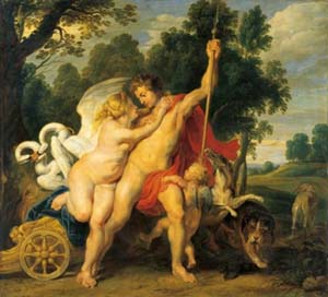 Peter Paul Rubens (1577–1640) and workshop, Venus and Adonis, c. 1614, Oil on panel. 83 x 90.5 cm© State Hermitage Museum, St Petersburg