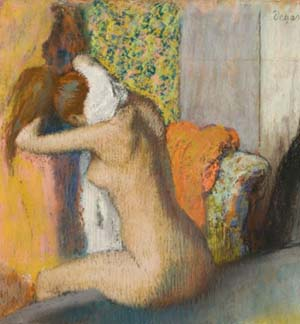 Edgar Degas: <EM>Woman drying her neck, after her bath,</EM> 1898Pastel on cardboardH. 62.2; W. 65 cmParis, Musée d'OrsayBequest of Count Isaac de Camondo, 1911