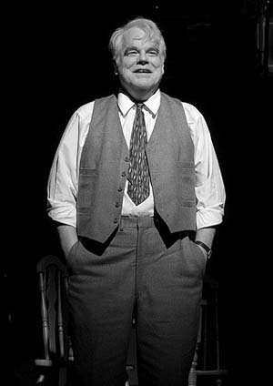 Philip Seymour Hoffman as Willy Loman in <EM>Death of a Salesman</EM>. Production photo by Brigitte Lacombe