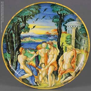 <EM>Cup, The Judgement of Paris, </EM>UrbinoNicola da Urbino workshop, 1530Faenza Museo Internazionale delle Ceramiche