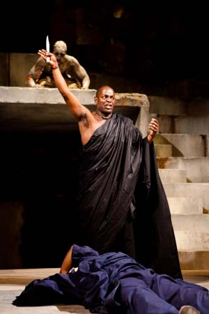Theo Ogundipe as the Soothsayer and Paterson Joseph as Brutus in <EM>Julius Caesar</EM>Photo: Kwame Lestrade