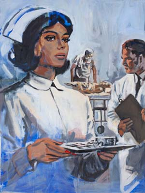 Walter Robinson:<EM> Society Nurse</EM>, 2011Acrylic on canvas48 x 36 inches (121.9 x 91.4 cm)Courtesy of the artist and Haunch of Venison
