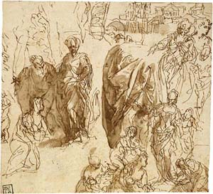 Paolo Veronese (1528–1588)Studies for <EM>The Finding of Moses</EM>, 1575–85Pen and brown ink, brown washPurchased by Pierpont Morgan, 1909