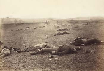 Timothy H. O'Sullivan (ca. 1840-1882), photographerprinted by Alexander Gardner, <EM>A Harvest of Death, Gettysburg, July 4, 1863</EM>Albumen print; 7 x 9 in. Huntington Library, Art Collections, and Botanical Gardens.