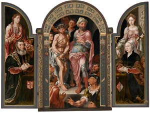 Left panel: <EM>Jan van Drenckwaerdt and Saint John the Evangelist</EM>Center panel: <EM>Ecce Homo</EM>Right panel: <EM>Margaretha de Jonge van Baertwyck and Saint Margaret of Antioch</EM>Frame by unknown craftsmen, about 1544; oak with gilt gesso and some later additionsMaerten van Heemskerck Dutch, 1544Oil on panel74 1/4 x 102 3/8 x 5 3/16 in. (open, framed)Muzeum Narodowe w Warszawie