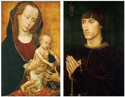 Rogier van der Weyden (Flemish, ca. 1400–1464). Left: <EM>Madonna and Child</EM> (ca. 1460). Huntington Library, Art Collections, and Botanical Gardens. Right: <EM>Portrait of Philippe de Croÿ </EM>(ca. 1460). The Koninklijk Museum voor Schone Kunsten, Antwerp.
