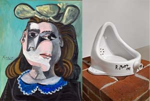 <P>Pablo Picasso: <EM>La femme à la collerette bleue</EM>, 1941© Succession Picasso/BUS 2012</P> • <P>Marcel Duchamp: <EM>Fountain</EM>, 1917 © Succession Marcel Duchamp/BUS 2012 </P>