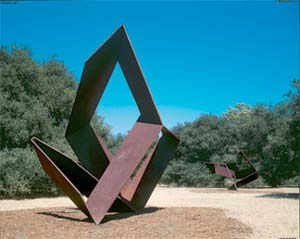 Charles Ginnever: <EM>Rashomon</EM>, 1998Steel, 13 x 13 x 13 ft., three units.