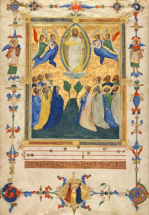 Pacino di Bonaguida: <EM>The Ascension of Christ</EM>, about 1340Leaf from the <EM>Laudario of Sant'Agnese</EM> (text in Italian)Tempera colors and gold on parchment17 1/2 x 12 1/2 in. (44.4 x 31.8 cm)The J. Paul Getty Museum, Ms. 80a, verso