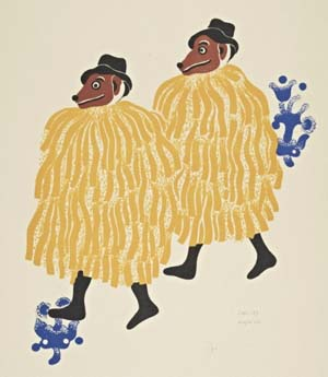 Carlos Mérida (Guatemalan, 1891-1984)<EM>People Dressed as Dogs for the Fiesta of Huchuenchis</EM>, 1939Color lithographThe Getty Research Institute© Alma Mérida