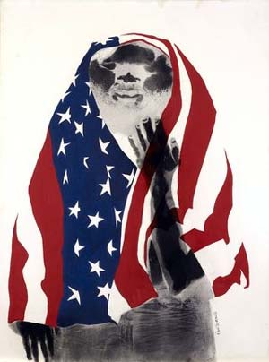 David Hammons: <EM>America the Beautiful,</EM> 1968. Lithograph and body print. 39 x 29 1⁄2 in. (99.1 x 74.9 cm)Oakland MuseumOakland Museum Founders Fund