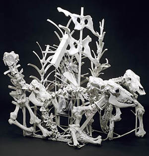 Thornton Dial: <EM>Lost Cows</EM>, 2000–2001Cow skeletons, steel, golf bag, golf ball, mirrors, enamel, and Splash Zone compound. Collection of the Souls Grown Deep FoundationPhoto courtesy of High Museum of Art