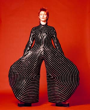 Striped bodysuit for Aladdin Sane tour 1973Design by Kansai YamamotoPhotograph by Masayoshi Sukita© Sukita The David Bowie Archive 2012