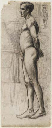 Edward Hopper (1882–1967):<EM> Male Nude</EM>, circa 1903–4Graphite and charcoal on cream paper, 24 x 9 5/8 in. (61 x 24.4 cm)Brooklyn Museum, Gift of Mr. and Mrs. Morton Ostrow, 82.253.2