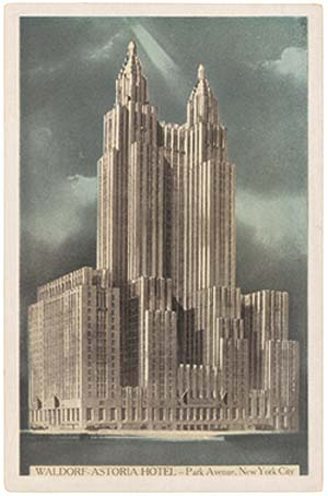 Waldorf-Astoria, New Yorkpostcard, c.1931