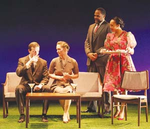 Dashiell Eaves, Amanda Quaid, Victor Williams and Elsa Davis (Erin Baiano) in <EM>Luck of the Irish.</EM>