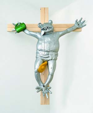 Martin Kippenberger: <EM>Zuerst die Füße (Frog on the Cross),</EM> 1990