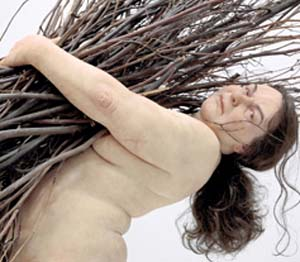 Ron Mueck: sculpture (detail) on view at  Fondation Cartier pour l'art contemporain