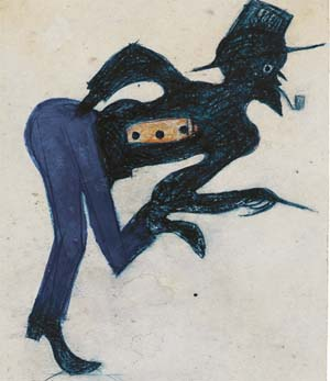Bill Traylor: Untitled (Man in Blue Pants), ca. 1939–47Poster paint and pencil on cardboard, 10 5/8 x 7 ¼ inHigh Museum of ArtT. Marshall Hahn Collection, 1997.115