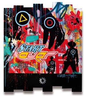 Speedy Graphito: <EM>Start Over</EM>, mixed media on wood, 51 x 44 in.