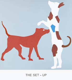 John Baldessari:<EM> Double Feature: The Set-Up</EM>, 2011 Varnished inkjet print on canvas with acrylic and oil paint 213,4 x 194,3 cm