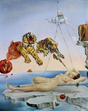 Salvador Dalí: <EM>Dream caused by the Flight of a Bee around a Pomegranate one Second before waking</EM>, 1944Oil on panel – 20″ × 16 inches – 51 × 41 cm – Thyssen-Bornemisza Museum, Madrid © Salvador DalíFundación Gala-Salvador Dalí / VEGAP, Madrid 2012