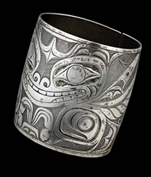 Charles Edenshaw: <EM>Sea Bear Bracelet</EM>Late 19th century, silverMcMichael Canadian Art CollectionPurchase 1974, 1981.108.1