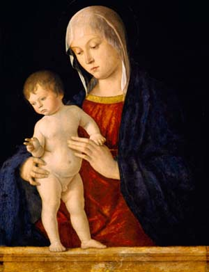 "<P><SPAN class=pie _extended=""true"">Giovanni Bellini: <EM>Virgin and Child,</EM> ca. 1480–85Tempera and oil on panel, 24 1/2 x 18 1/4 inGlasgow MuseumsBequeathed by Mrs. John Graham-Gilbert, 1877 (575)</SPAN><SPAN class=pie _extended=""true"">© CSG CIC Glasgow Museums CollectionPhoto courtesy American Federation of Arts</SPAN></P>"
