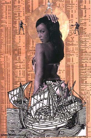 Godfried Donkor: <EM>Browning Madonna</EM>, 2004Collage on paper64x48cm