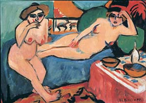 Ernst Ludwig Kirchner: <EM>Two Nudes on a Blue Sofa</EM>, 1910-20