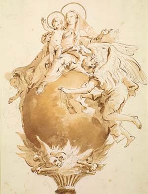 "<SPAN class=pie _extended=""true"">Giambattista Tiepolo (1696–1770), <EM>The Virgin and Child Seated on a Globe</EM>,Pen and brown ink, brown and ochre wash, over black chalk. The Morgan Library & Museum, New York; 1997.26Gift of Lore Heinemann, in memory of her husband, Dr. Rudolf J. HeinemannPhoto: Graham S. Haber.</SPAN>"