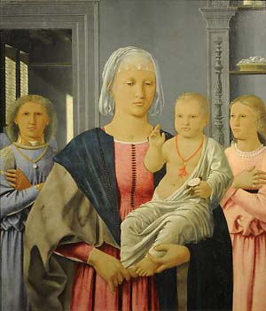 <P>Piero della Francesca (San Sepolcro, Ar 1412-1492)<EM>Madonna col Bambino benedicente e due angeli,</EM> ca. 1478Madonna and Child with Two Angels (Senigallia Madonna)Oil on wood24 × 21 1/16 in. (61 × 53.5 cm)Galleria Nazionale della Marche, UrbinoPhoto courtesy of Metropolitan Museum of Art</P>