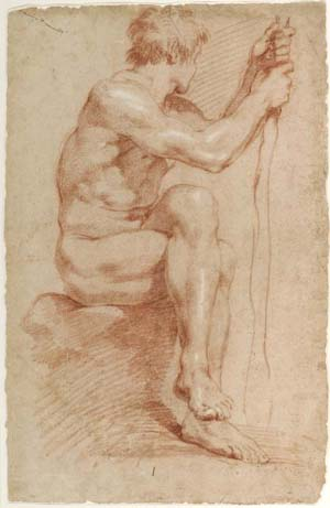 Gian Lorenzo Bernini, Italian, 1598–1680: <EM>Seated Male Nude</EM>, ca. 1618–24Red chalk, heightened with white, on buff laid paperMuseum purchase, Laura P. Hall Memorial Fund and Fowler McCormick, Class of 1921, Fund (2005-128)Photo: Bruce M. White