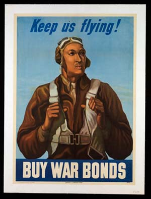 """<EM>Keep us Flying</EM>,"" United States, 1943. This is one of 33 posters on view in <EM>Black Bodies in Propaganda: The Art of the War Poster</EM> at the Penn Museum."