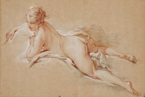 François Boucher (1703–1770): <EM>Recumbent Female Nude</EM>, circa 1742–43Red, white, and black chalk on cream antique laid paperThe Horvitz Collection, Boston